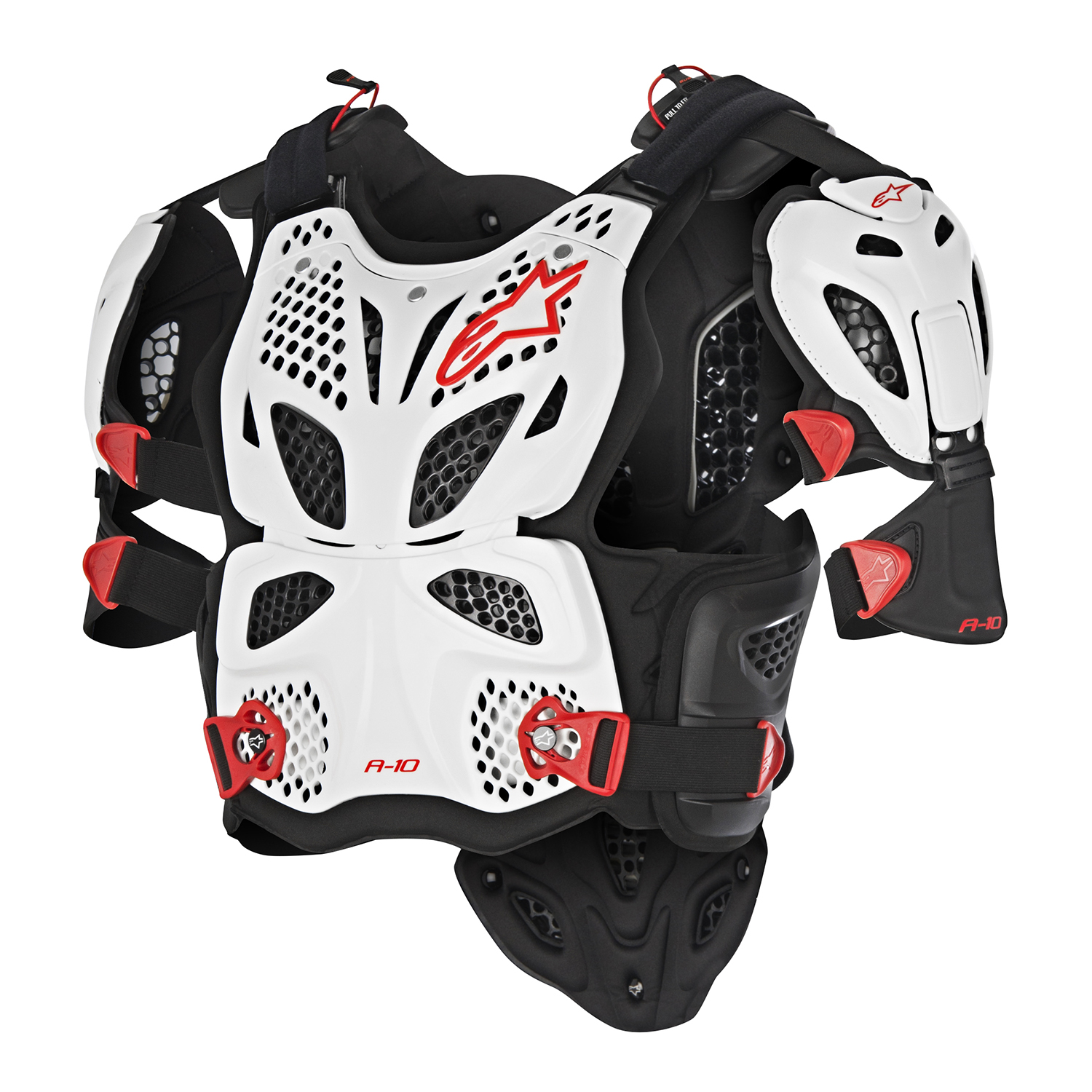 White//Black//Red, X-Small//Small Alpinestars Mens A-4 Chest Protector
