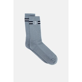 Polar Skate Co Stroke Logo Socks - Grey/dark Blue/white