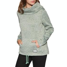 Animal Huddle Fleece Funnel Neck Womens Sweater - Wasabi Green Marl
