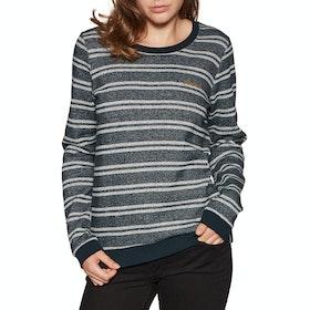 Animal Stripes Crew Neck Womens Sweater - Sky Captain Blue