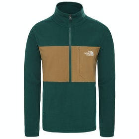 North Face Blocked Quarter Zip Fleece - Night Green British Khaki