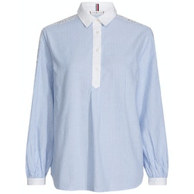 Tommy Hilfiger Evie Embroidered Cotton Women's Shirt - Soft Ultramarine