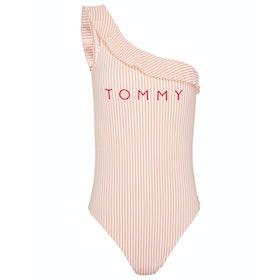 Tommy Hilfiger One Piece Off Shoulder Women's Swimsuit - Seersucker Coral