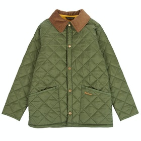 Barbour Liddesdale Quilted Short Boys Jacket - Moss Yellow
