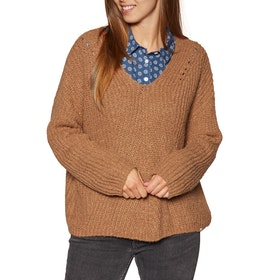 Knits Mujer Rip Curl Woven V Neck Sweater - Pecan Brown