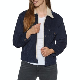 Levi's Exbf Sherpa Trucker Addicted To Love Womens Bunda - Vintage Navy Blazer