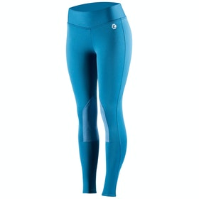 Horze Active Knee Patch Winter Ladies Riding Tights - Sapphire Blue