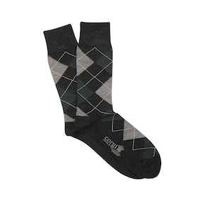 Corgi Argyle Socks - Charcoal Grey