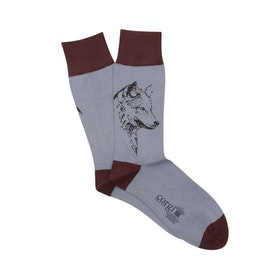 Corgi Wolf Sketch Socken - Sky