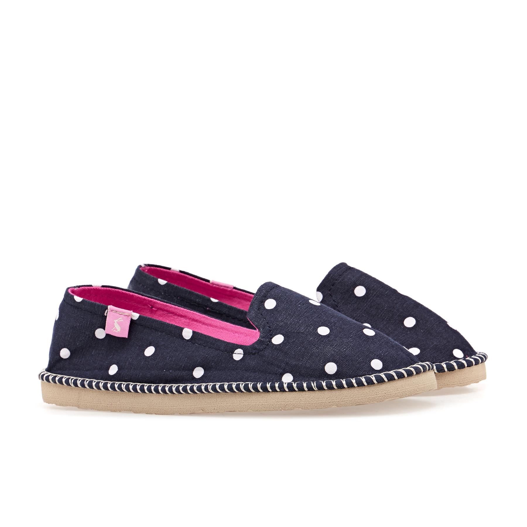 Joules FLIPADRILLE Ladies Womens Canvas Espadrille Low Top Flat Shoes Navy Spot