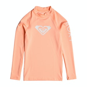 Rash Vest Girls Roxy Whole Hearted Long Sleeve UPF 50 - Souffle