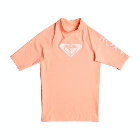 Roxy Whole Hearted Short Sleeve Girls Rash Vest - Souffle