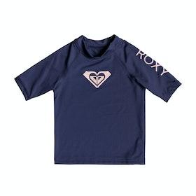 Rash Vest Girls Roxy Whole Hearted Short Sleeve - Medieval Blue