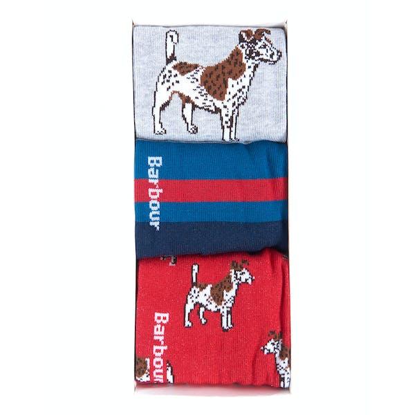 Barbour Gift Set 3 Pack Dog Men's Socks
