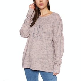 Animal His N Hers Crew Neck Womens Sweater - Rose Dust Pink Marl