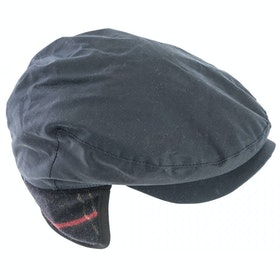 Barbour Cheviot Tartan Flat Hat - Navy