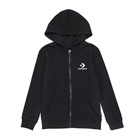 Converse Stacked Wordmark Full Zip Hoodie Boys Zip Hoody - Black