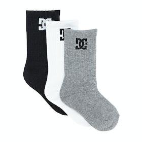 DC 3 Pack Crew Boys Sports Socks - Assorted