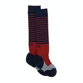 Mons Royale Lift Access Socks - Navy Grey Bright Red