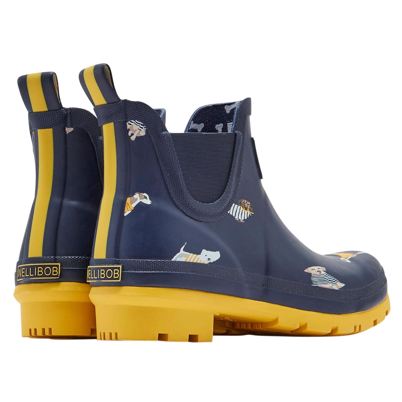 Joules Wellibob Short Wellington Boots Blue Daisy Floral Sizes 5-8