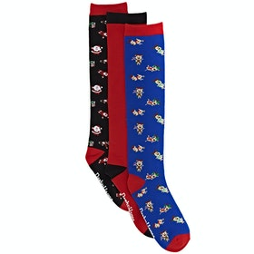 Derby House Bamboo Cotton Xmas Pack of 3 Childrens Socks - Black High Risk red