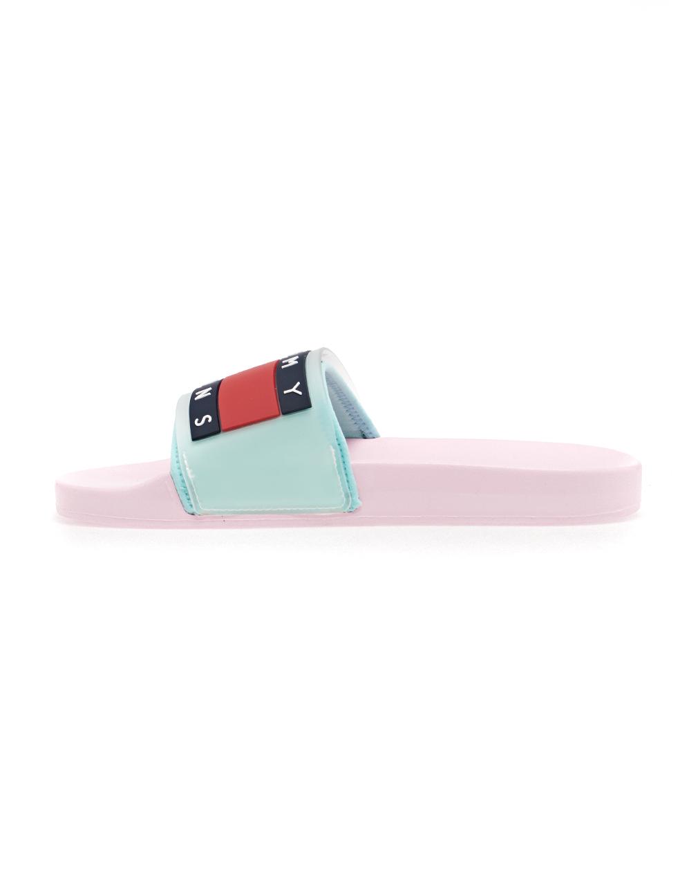 Tommy Hilfiger Translucent Flag Pool Sliders Pink Mist