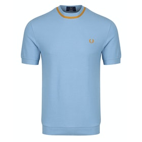 Fred Perry Re Issues Crew Neck Pique Short Sleeve T-Shirt - Sky