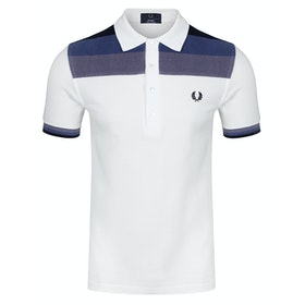Fred Perry Re Issues Towelling Panel Pique Polo Shirt - Snow White