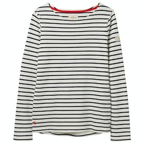 Joules Harbour Jersey Ladies Top - Cream Navy Stripe
