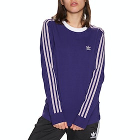 Adidas Originals 3 Stripe Womens Long Sleeve T-Shirt - Collegiate Purple