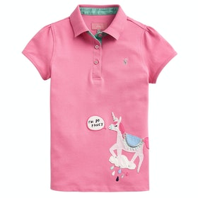 Joules Moxie Applique Girls Polo Shirt - Pink Unicorn