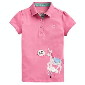 Joules Moxie Applique Girl's Polo Shirt - Pink Unicorn
