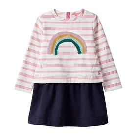 Joules Lucy Girls Dress - Pink Stripe Sequin Rainbow