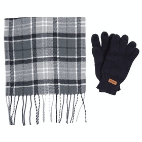 Barbour Scarf And Knitted Gloves Ladies Gift Set - Grey Juniper
