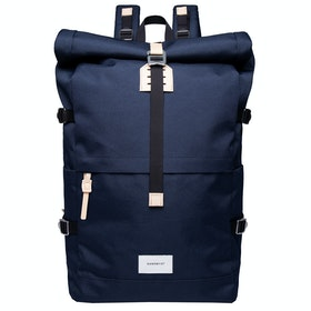 Sandqvist Bernt Rucksack - Navy With Natural Leather