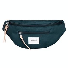 Sandqvist Aste Bum Bag - Dark Green With Natural Leather