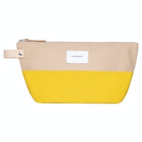Sandqvist Cleo Washbag - Multi Yellow Beige With Natural Leather