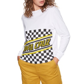 Santa Cruz Checker Cut Off Long Sleeve T-Shirt - White
