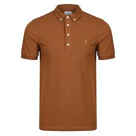 Farah Ricky Long Sleeve Polo Shirt - Spanish Brown