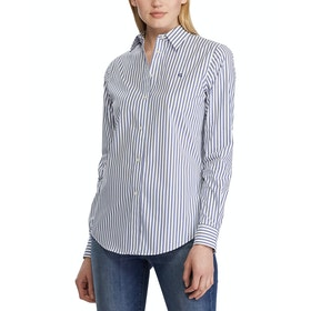 Lauren Ralph Lauren No-Iron Striped Women's Shirt - White Blue