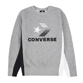 Converse 3D Embriodered Colourblock Crew Boys Sweater - Dark Grey Heather