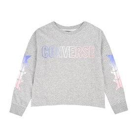 Converse Shark Hem Gradient Ft Crew Girls Sweater - Dark Grey Heather