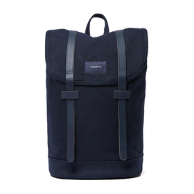 Sandqvist Stig Backpack - Navy With Navy Leather