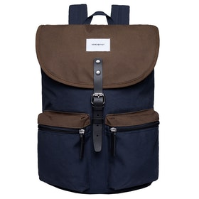 Sandqvist Roald Rucksack - Multie Navy Olive With Black Leather
