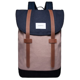 Sandqvist Stig Rucksack - Multi Navy Earth Brown Black With Cognac Brown