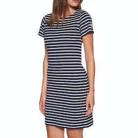 Joules Riviera Short Sleeve Jersey Kleid - Navy Cream Stripe
