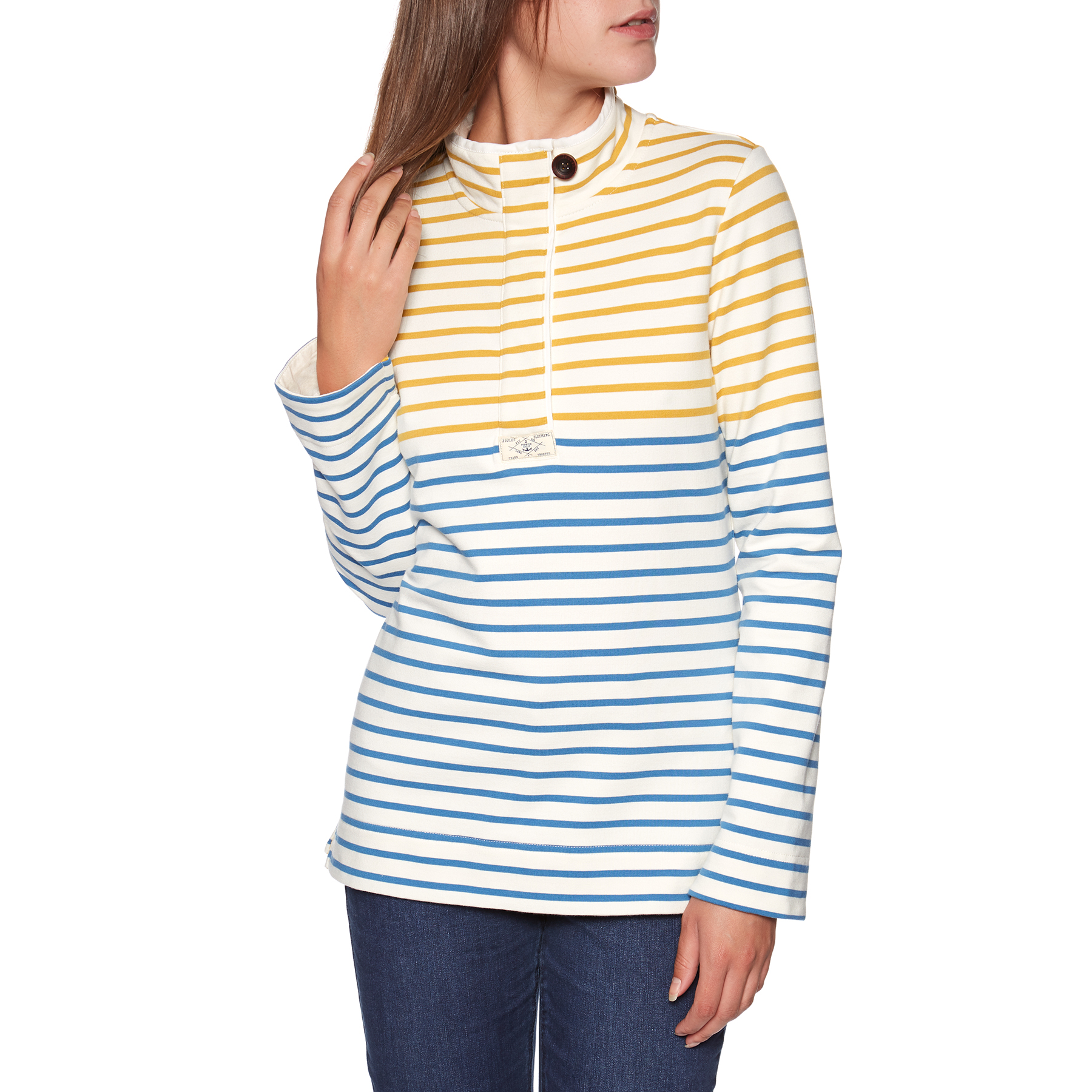 Gold Cream Blue Stripe All Sizes Joules Saunton Funnel Neck Womens Jumper