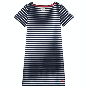 Joules Riviera Short Sleeve Jersey Dress - Navy Cream Stripe