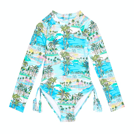 Seafolly Miami Vice Long Sleeve Surf Tank Girls Swimsuit