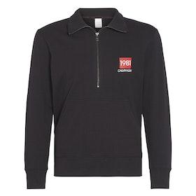 Calvin Klein Half Zip Sweatshirt Loungewear Tops - Black